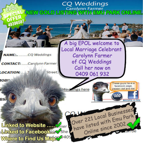Marriage Celebrant Carolynn Farmer CQ Weddings – new GOLD LISTING